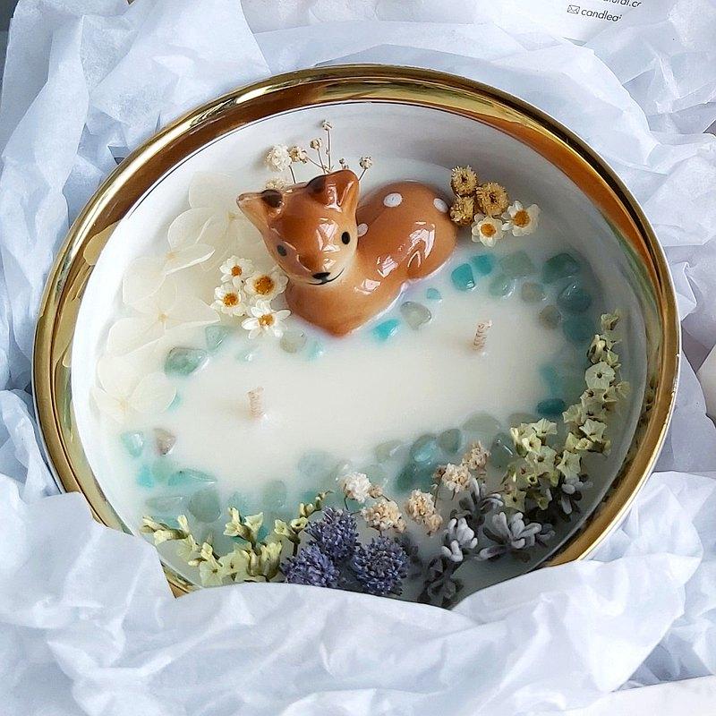 獨家 -森林小鹿 天河石大理石碗 230g大容量 大豆蠟香氛蠟燭 晶石