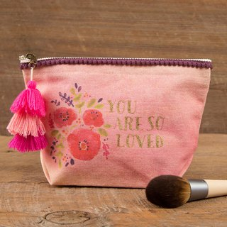 Wool fringed canvas cosmetic bag - You are so loved