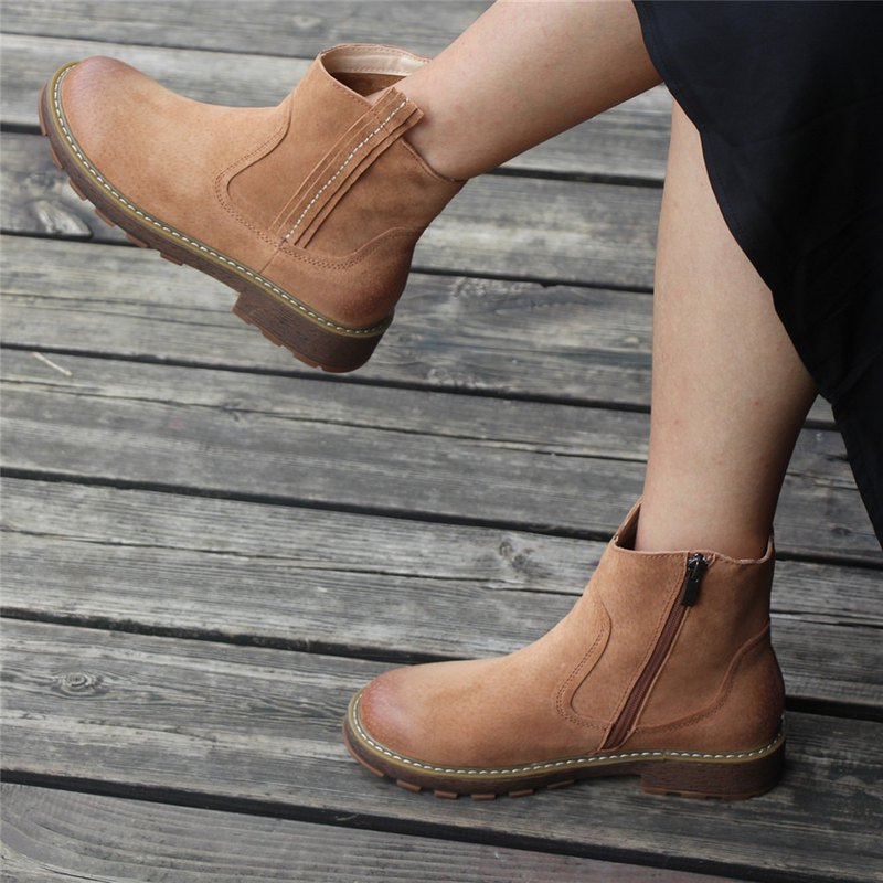 Women'S Handmade Leather Ankle Boots Short Brown/Black Boots Side Zipper