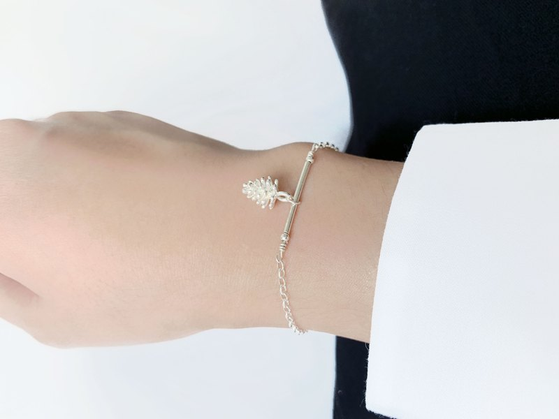 Simple Straight Bracelet / Silver Fruit - Pine Cone 925 Silver Bracelet