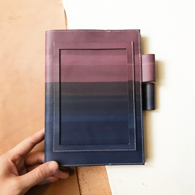 Leather book cover _ MUJI B6 size _ postcard version _ raspberry gradient lavender purple