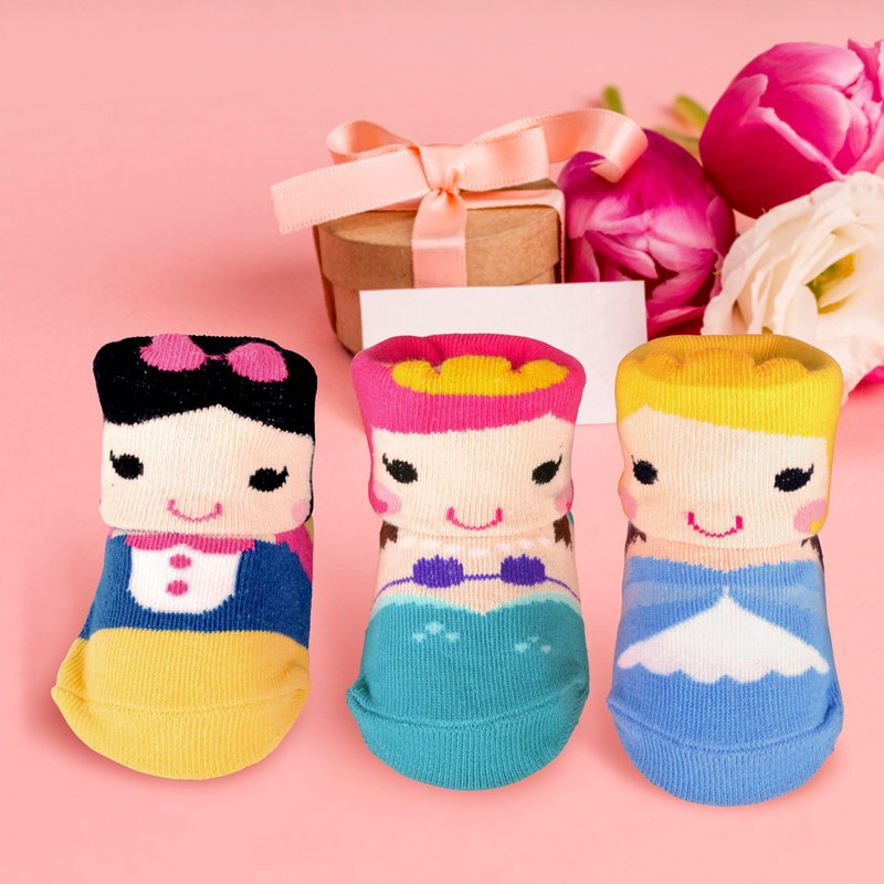 Fairy tale princess baby socks 3 styles each 1 pair of full moon gift wide mouth socks with Christmas packaging gift box