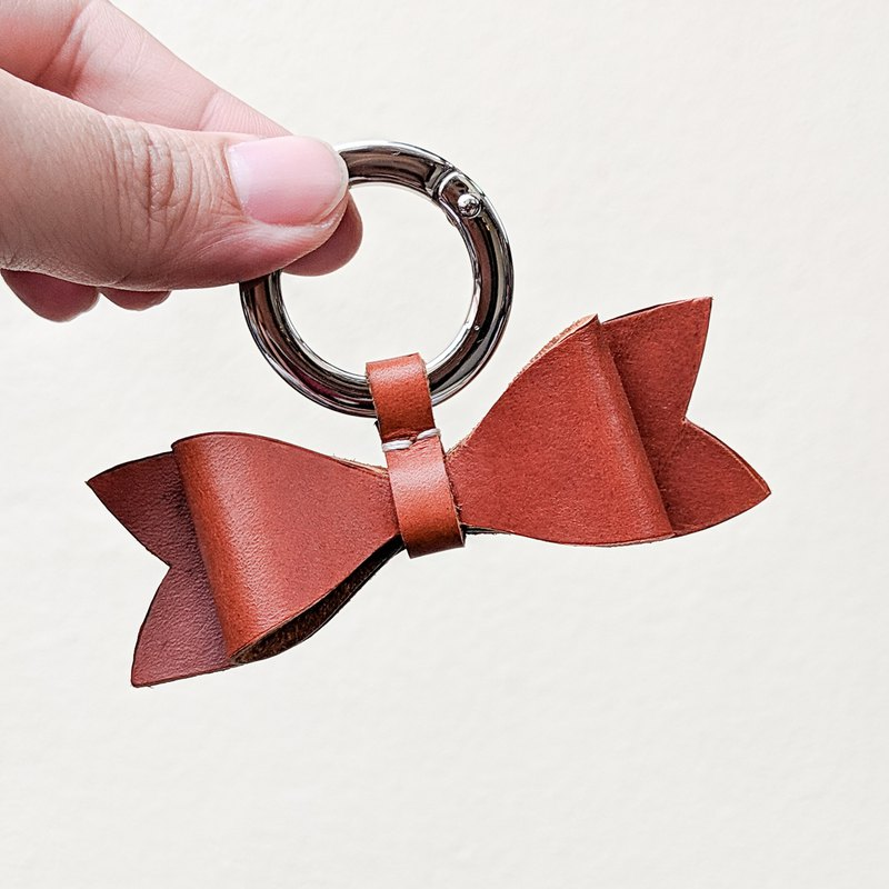 Small universe in the heart - bow starry sky dyed leather key ring (1 entry)