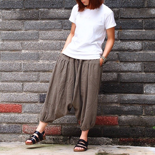 Calf Calf Village ├ original village ┤ High quality thick cotton pants wide pants pounds skirt beam port pants flying squirrel pants super {-} Brown Green Limited