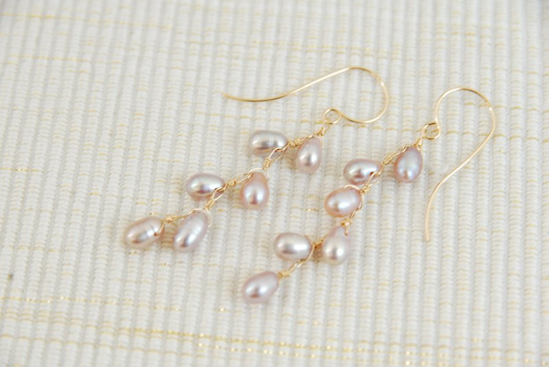 Small Purple Pink Pearl Earrings (14 kgf)