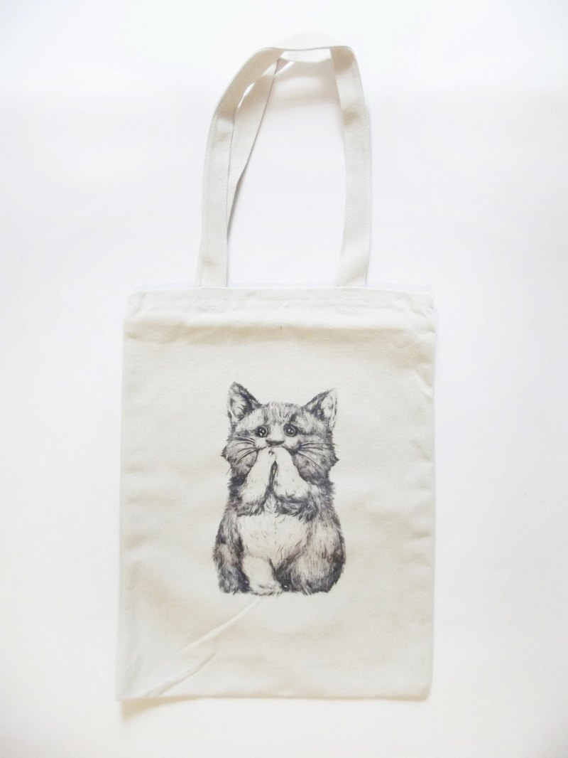 White Soy Cat's Prayer-Eco Bag