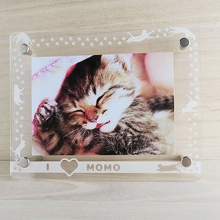 Unrestrained cat and paws footprints photo frame (L-size size)