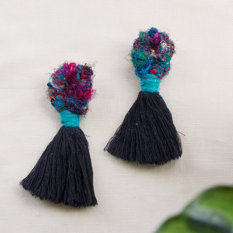 Rainforest Rhapsody - Sari Weaving Fringe Big Earrings - Secret Blue