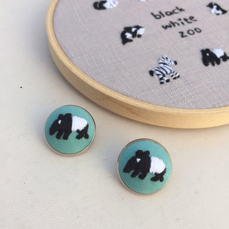 Malay tapir black and white zoo hand embroidery pin
