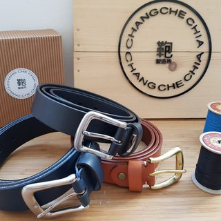 Leather European imported vegetable tanned leather belt 3cm / free gift box packaging