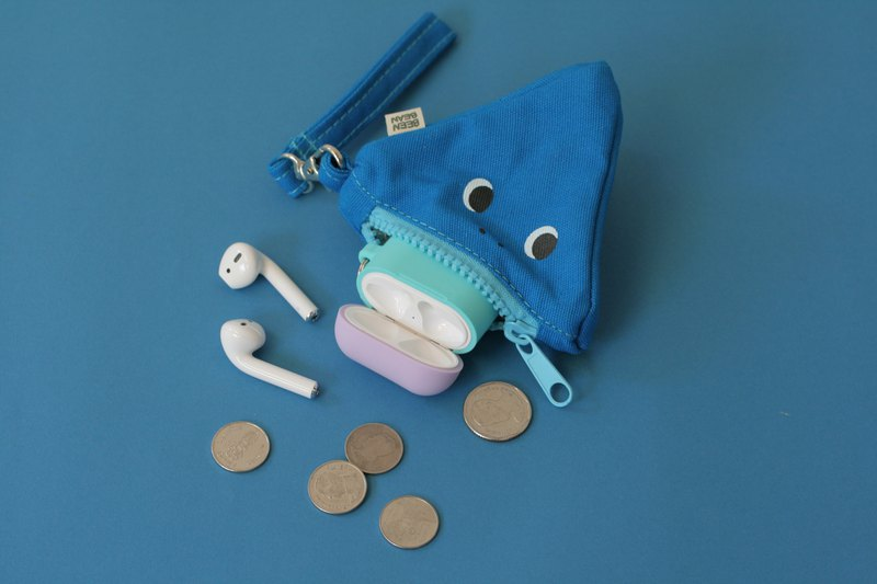 Blue Glutton Monster Triangle (pyramid) Zip Purse
