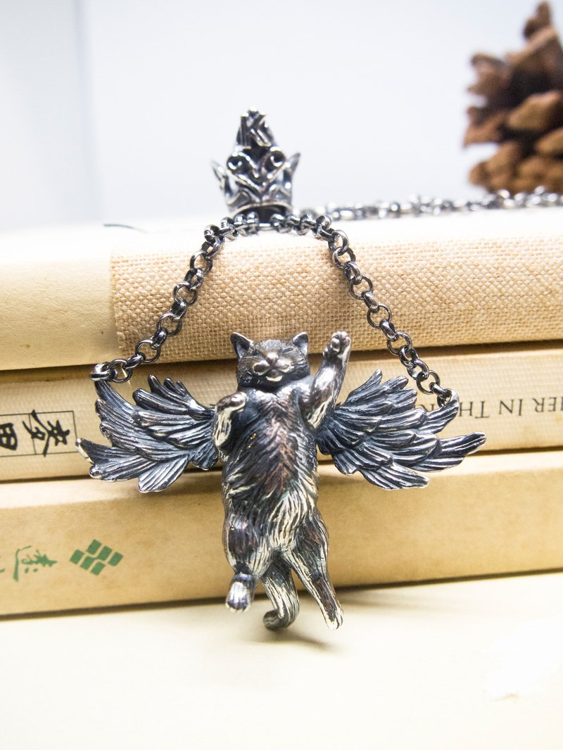 Handmade Smile Angel Silver Fly Cat Wing Necklace Gift For Cat Lover Memorial