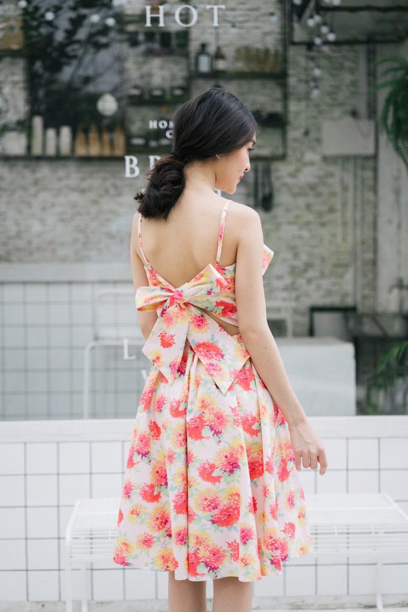 back bow dress floral dress ruffle long dress summer dress vintage style