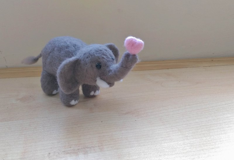 Needle Felt Zoo Animal Elephant