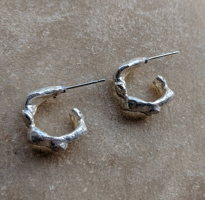 Sterling Silver Twig Hoop Earrings