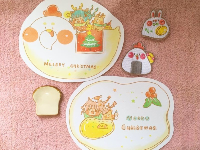 Dog clip star / styling postcard 2 / chicken and eggs