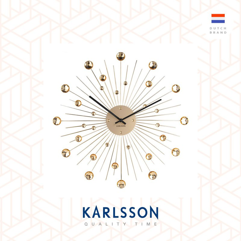 Karlsson 50cm Wall clock Sunburst crystal gold large