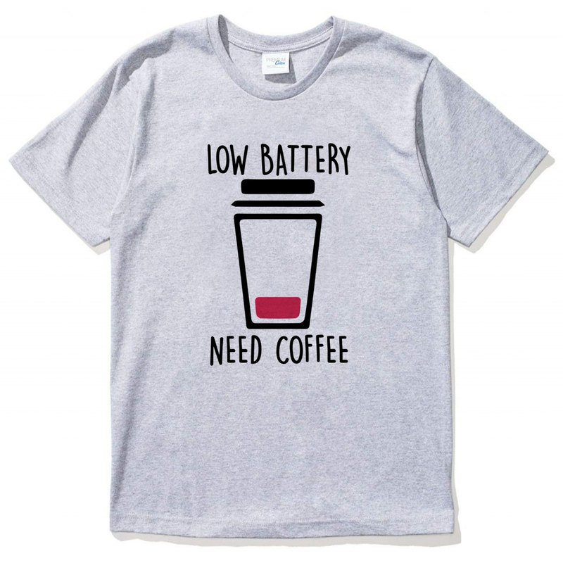 LOW BATTERY NEED COFFEE gray t shirt