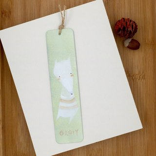 [Christmas Offer] hand-painted metal bookmark white fox - light green