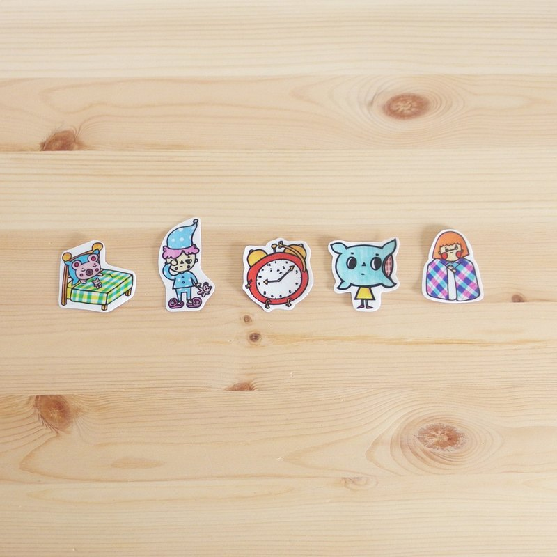 Water Proof Stickers 5pcs in 1 Pack Sleepy Baby