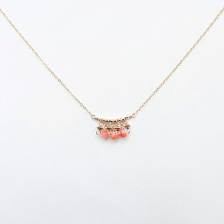 Swinging Deep-sea Precious Coral Beads 14K Gold Filled Two-Way Necklace