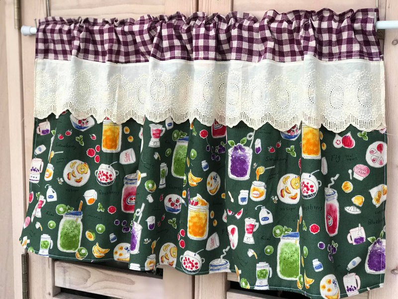 Oreta Hand-made **Zige Green Bottom Cotton Bubble Drink Handmade Short Curtain
