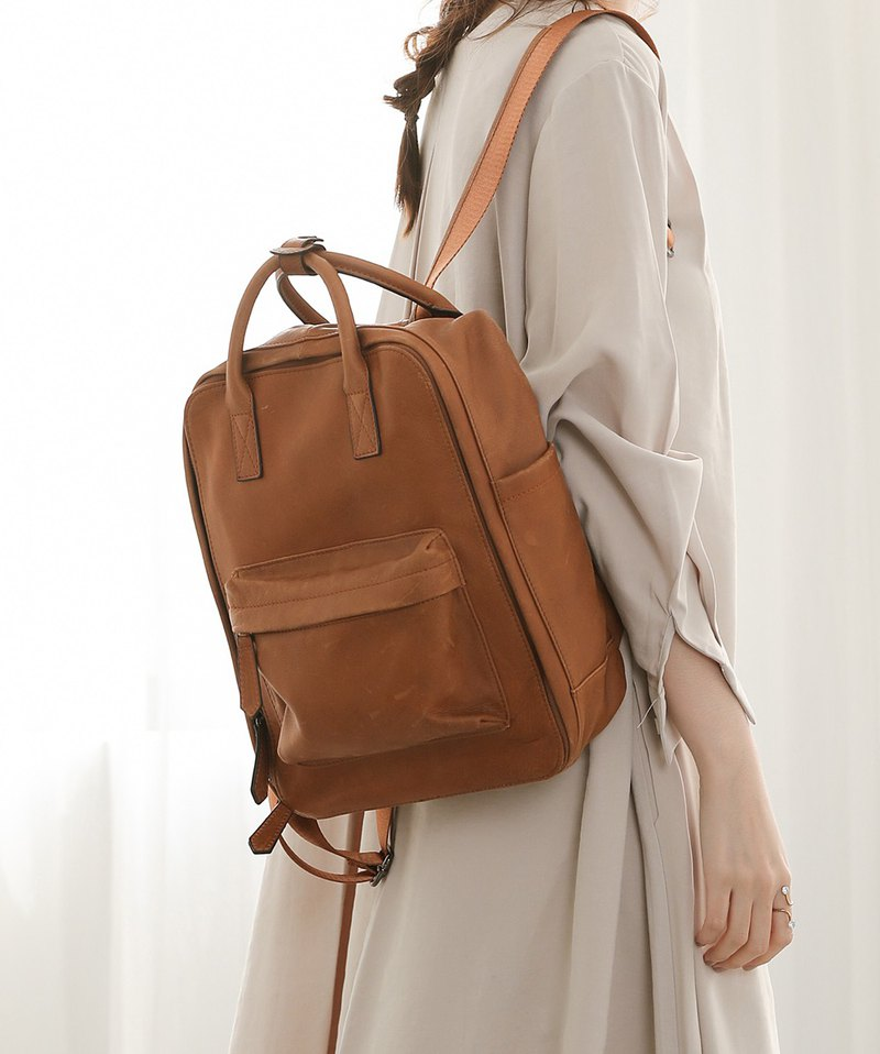 Three-dimensional square large capacity leather back backpack brown orange