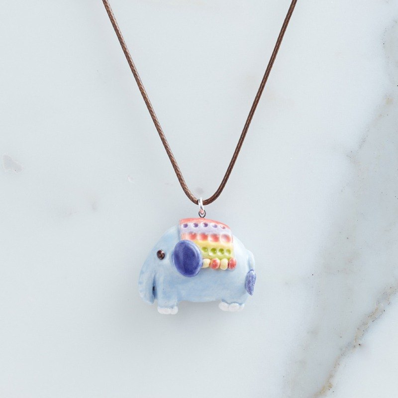 Cute elephant - handmade white porcelain necklace