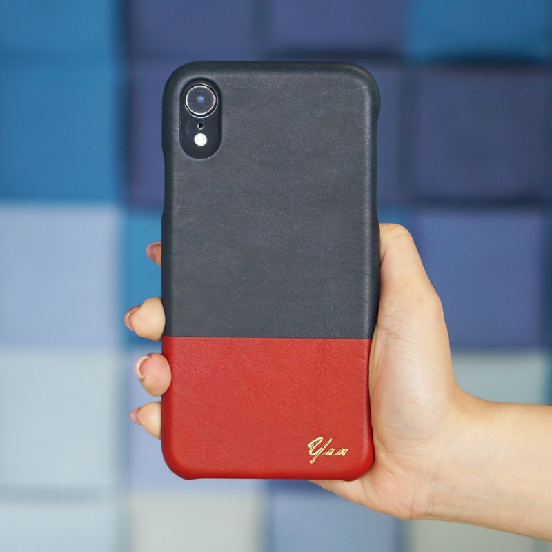 Customized indigo with Yin red leather IPHONE XR phone case