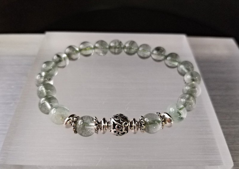 Excellent - Natural Green Ghost + Cui Ghost Sterling Silver Bracelet