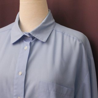 Vintage European Simple Plain Powder Blue Loose Long Sleeve Vintage Shirt Vintage Blouse