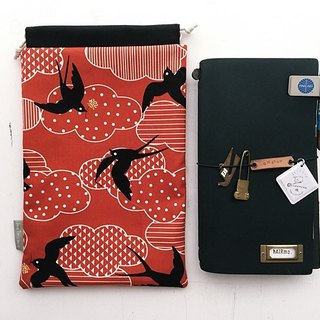 Hairmo Japanese wind totem bird hand account bag (TN / hobo / notepad / log)