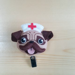 """Mini bear hand-made"" little nurse popo dog badge retractable cord can pull ring + dual-Oh (card sets sold separately)"