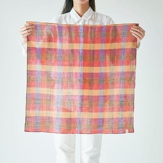 Ramie ahead dyed check square cloth orange × red