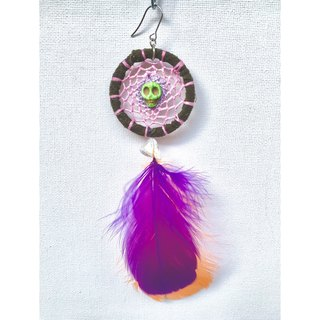 Fall in love with changing skull dream catcher earrings (a)
