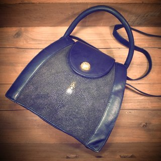 [Bones] very beautiful dark green pearl skin x dark blue leather hand side back with two small packets of print genuine antique bag Vintage