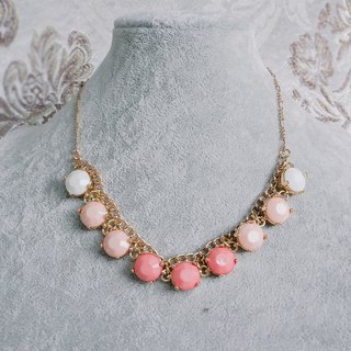 Pink orange imitation gemstone temperament classical antique necklace BMA117