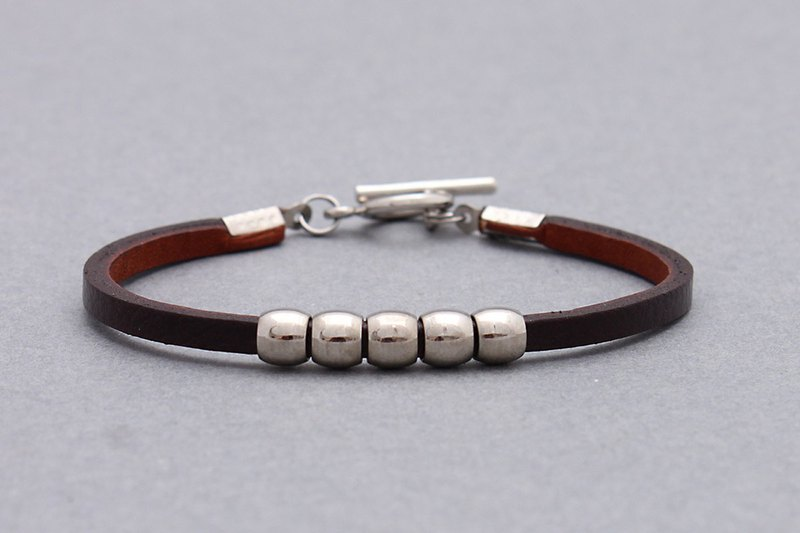 Dark Brown Leather Silver Cube Beaded Bracelets Genuine Minimal Leather Cuff