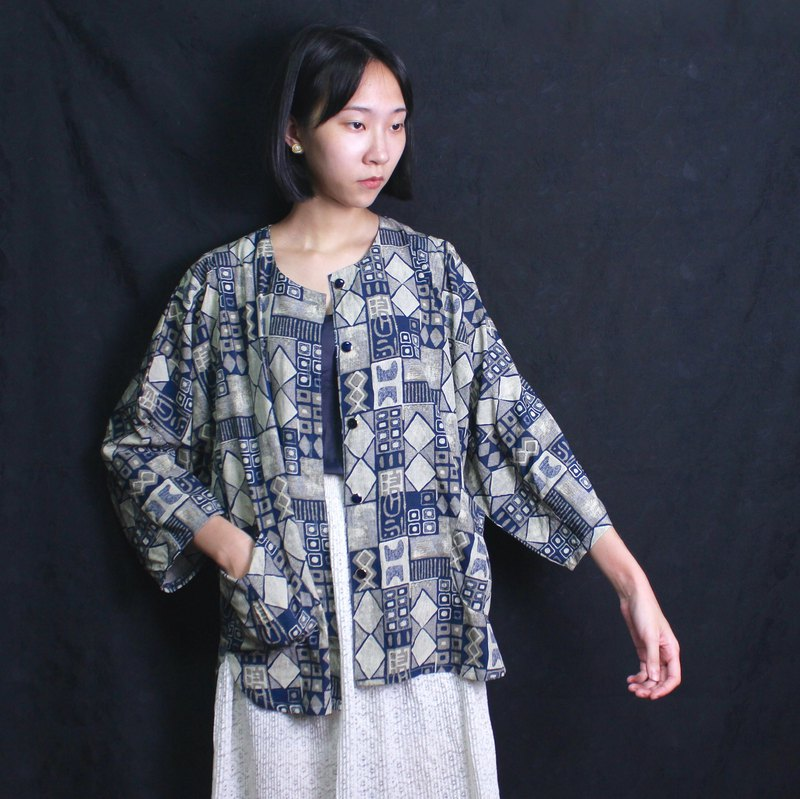 FOAK vintage and wind geometric decorative sea blue shirt