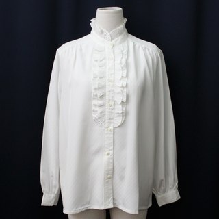 [RE0215T1756] Nippon Department of Forestry collar striped shirt loose white vintage