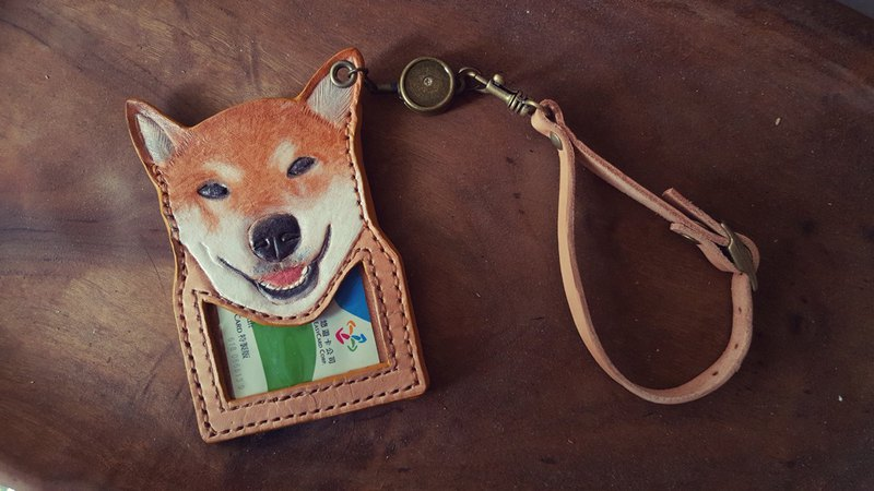 Custom Shiba Inu Dog Original Leather Pure Leather Telescopic Identification Card / Youyou Card Holder (Birthday, Valentine Gift)