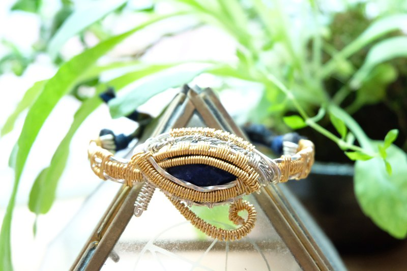 Lapis Lazuli wire wrapped fabric woven bracelets . Eye of Horus (Tailor Made)