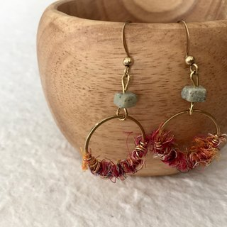 Handmade brass earrings (2cm loop)  |  Fairtrade sari silk   |  Rosie x monk