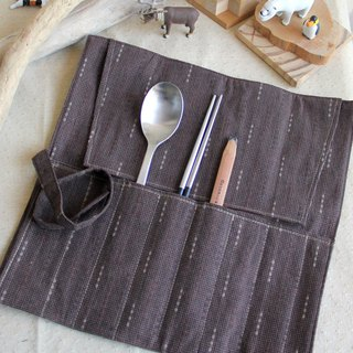 【Valentine New Year】 weimoms micro-dark cloth to create dark coffee first dyed cloth - chopsticks set house, pencil case, green tableware bag, cloth roll, Christmas gifts made in Taiwan - hand made good