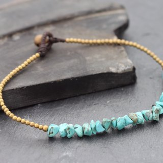 Turquoise Minimal Stone Anklets Beaded Brass Skinny