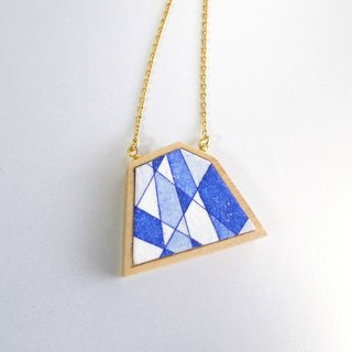 The necklace of etching print and wood <The pieces of ores / Blue> -B-