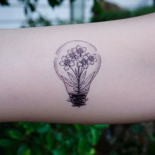 Flower Lightbulb Floral Temporary Tattoo Stickers Artistic Realistic Dotwork HK