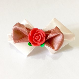 Kanzashi ribbon fimo clay flower bow hair clip red pink hair accessories(つまみ細工)