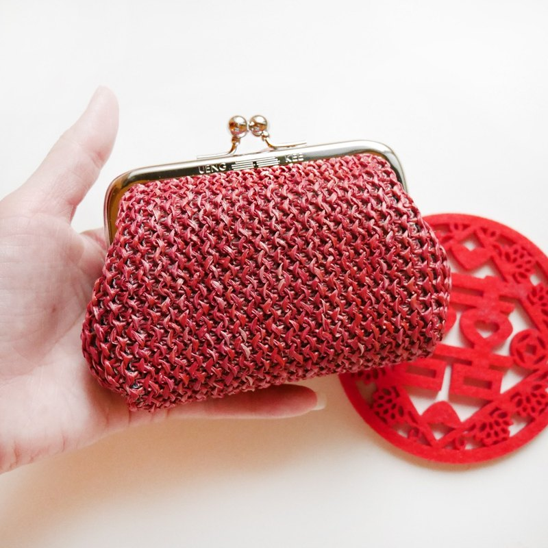 Taiwanese small woven red big mouth coin purse / mouth gold bag [Made in Taiwan]