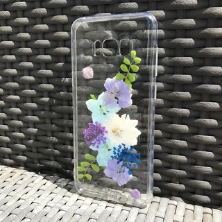 Samsung Galaxy S8 Dry Pressed Flowers Case Blue Flower case 029
